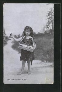AK kleines barfüssiges Mädchen verkauft Pfeifenanzünder, Händler