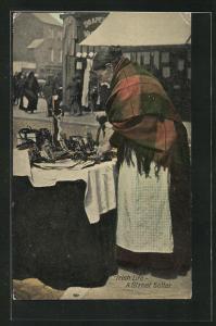 AK europäische Händlerin am Strassenstand, Irish Life, A street seller