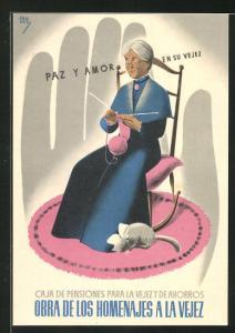 AK Pensionskasse, alte Frau strickt mit Katze