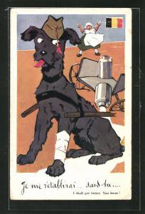 AK Diensthund mit Verband vor Milchkarren gespannt, Milch läuft aus, Fahne