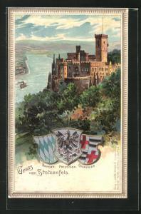 Lithographie Koblenz, Schloss Stolzenfels, Wappen Bayern, Preussen, Churtrier