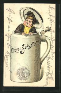 AK Brauerei-Werbung, Zacherl`sche Brauerei, München, 1l Krug mit Deckel, Salvatore
