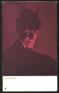 AK Teufel, Mephistopheles mit Hut und diabolischem Lächeln