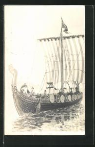 Künstler-AK Wikingerboot sticht in See