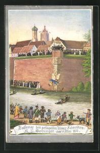 AK Luftreise des geflügelten Ulmer Schneiders am 31. Mai 1811