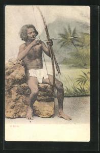 AK Sri Lanka, Ureinwohner vom Stamme der Bhil mit Bogen