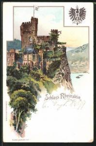 Lithographie Blick auf Schloss Rheinstein