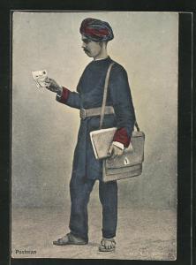 AK Indischer Briefträger bei der Arbeit