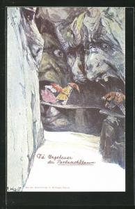 Künstler-AK Fritz Hass, Killinger Nr. 153: Die Ungeheuer der Partnachklamm, Berg mit Gesicht / Berggesichter