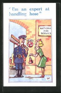 Künstler-AK Feuerwehrmann macht einen anzüglichen Witz