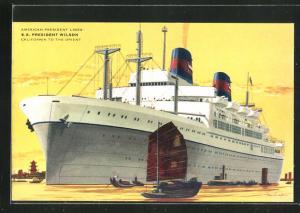 Künstler-AK American President Lines, Passagierschiff S.S. President Wilson