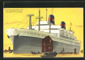 Künstler-AK American President Lines, S.S. President Wilson, Passagierschiff