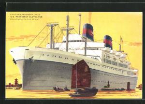 Künstler-AK American President Lines, Passagierschiff S.S. President Cleveland.