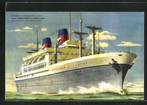 Künstler-AK American President Lines, S.S. President Cleveland, California to the Orient.