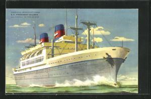 Künstler-AK American President Lines, S.S. President Wilson, California to the Orient, Passagierschiff