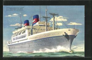 Künstler-AK American President Lines, S.S. President Wilson, Bugansicht des Passagierschiffes