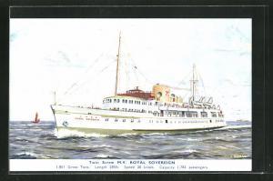 Künstler-AK J. Nicholson: Passagierschiff M.V. Royal Sovereign