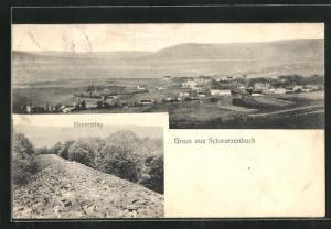 AK Schwarzenbach, Panoramablick auf den Ort, Hunnenring