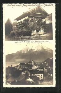 AK Berchtesgaden, Typisches Haus, Panoramablick auf den Ort