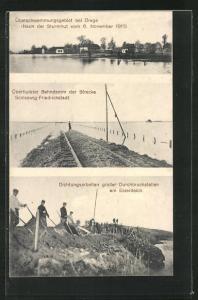 AK Drage, Hochwasser nach Sturmflut vom 6.11.1911, Überfluteter Bahndamm
