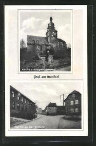 AK Utenbach, Strassenpartie an der Schule, Kirche und Kriegerdenkmal