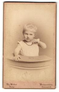 Fotografie Th. Weber, Weissenfels, Portrait niedliches blondes Kleinkind