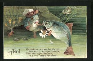 AK 1. April, Fische tummeln sich im See