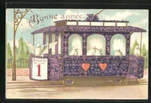 AK Blumenbild einer Strassenbahn mit Tauben als Passagieren