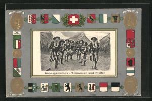 Präge-Passepartout-Lithographie Schweiz, Landsgemeinde, Trommler und Pfeifer, Teildenkmal, St. Jakob-Denkmal u. Wappen