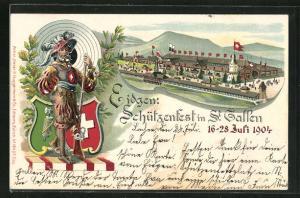 Lithographie St. Gallen, Eidgen. Schützenfest 1904, Festgelände, Schütze mit Gewehr