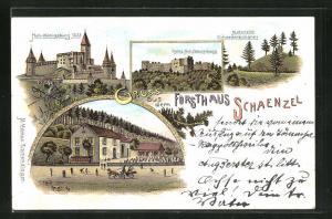 Lithographie Rappoltsweiler, Forsthaus Schaenzel, Ruine Hoh-Königsburg, Historische Schwedenschanze