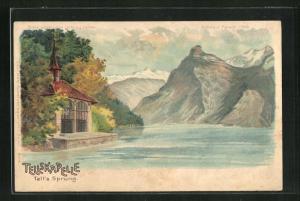 Lithographie Sisikon, Vierwaldstätter See, Tellskapelle, Halt gegen das Licht
