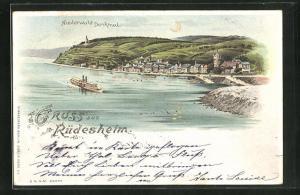 Lithographie Rüdesheim, Gesamtansicht mit Niederwald Denkmal, Halt gegen das Licht