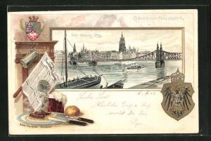 Passepartout-Lithographie Frankfurt / Main, Der Eiserne Steg, Wappen, Zeitung, Speise