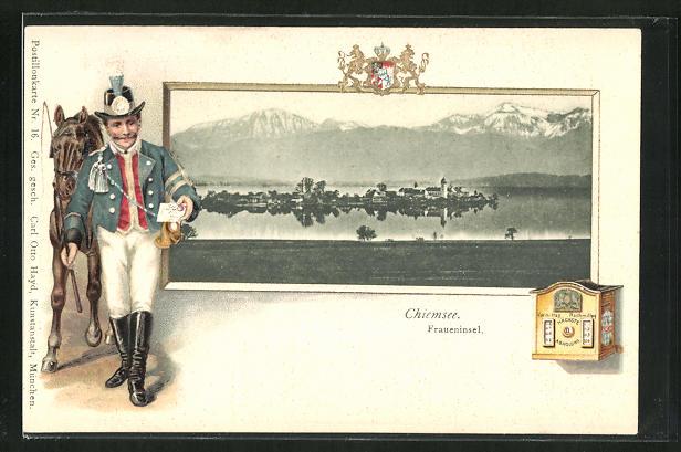 Passepartout-Präge-AK Chiemsee, Fraueninsel, Postbote mit einem Brief 0