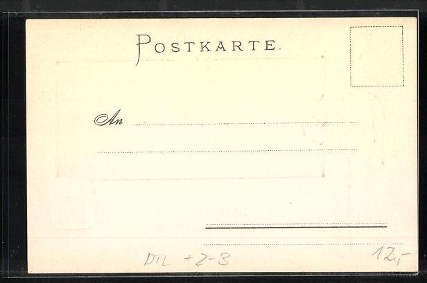 Passepartout-Präge-AK Chiemsee, Fraueninsel, Postbote mit einem Brief 1