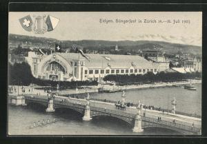 AK Zürich, Eidgen. Sängerfest 1905, Veranstaltungsgelände mit Brücke aus der Vogelschau