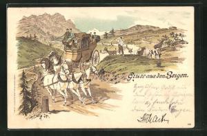 Lithographie Postkutsche unterwegs in den Bergen