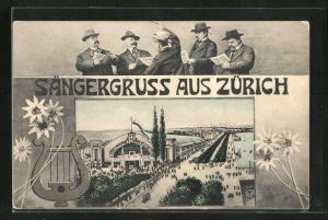 AK Zürich, Sängerfest, Blick auf die Veranstaltungshalle