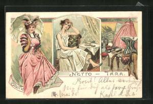 Lithographie Frau im Kostüm, im Nachtkleid, Blick auf Korsett und andere weibliche Utensilien, frauenfeindlicher Humor