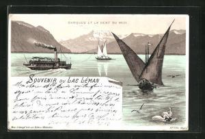 Lithographie Lac Léman, Barques et la Dent du Midi