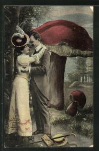 AK Verliebtes Paar küsst sich vor einem grossen Pilz