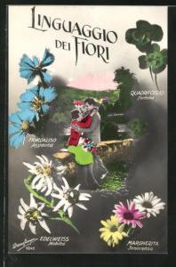 AK Verliebtes Paar umarmt sich auf einer Mauer, Blumensprache mit Edelweiss, Margerite und Klee