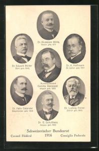 AK Schweiz, Mitglieder des Bundesrates 1916, Dr. E. Müller, Dr. A. Hoffmann, Dr. L. Forrer, Dr. E. Schultheiss u. a.