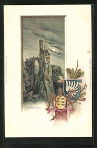 Passepartout-Lithographie Lichtenstein, Burg im Mondschein, Wappen