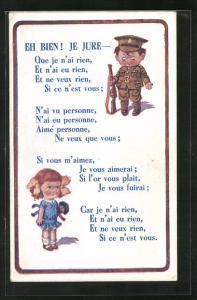 AK Junger Soldat blickt zu seiner kleinen Freundin mit der Puppe, Kinder Kriegspropaganda