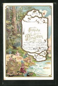 AK Zwerge sitzen am Flussufer, Fröhliche Pfingsten