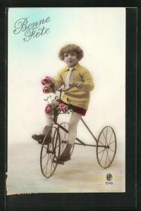 AK Junge auf einem Fahrrad, Glückwunsch zum Geburtstag