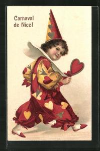 Präge-AK Nice, Carnaval, Harlekin mit Herz in der Hand
