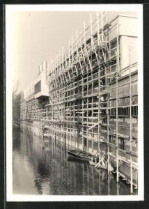 Foto-AK Cham, Erweiterung der Papierfabrik 1959, Fortgeschrittene Bautätigkeiten